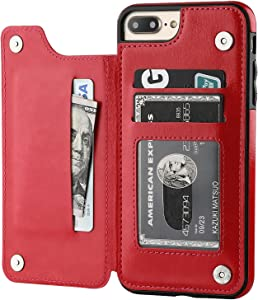 iPhone 7 Plus iPhone 8 Plus Wallet Case with Card Holder,OT ONETOP Premium PU Leather Kickstand Card Slots Case,Double Magnetic Clasp and Durable Shockproof Cover 5.5 Inch(Red)