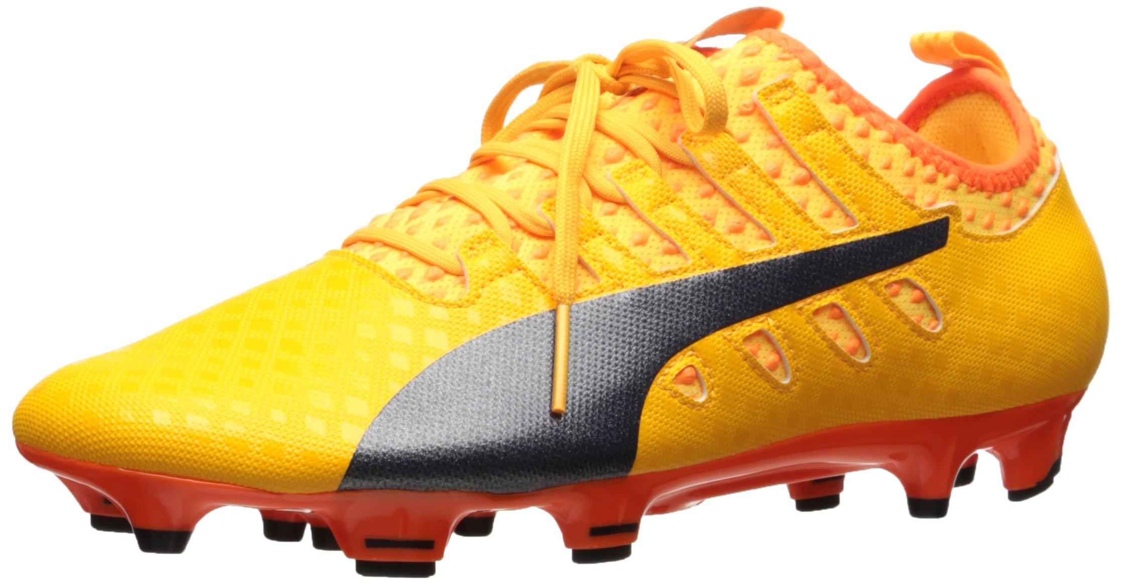 PUMA Men's Evopower Vigor 2 FG Soccer Shoe, Ultra Yellow-Peacoat-Orange Clown Fish, 9 M US