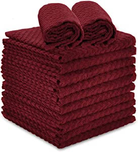 """Talvania Red Kitchen Dish Towels, 100% Cotton Dobby Weave Terry Towel Set, 12 Pack Soft and Absorbent Multipurpose Dish Cloth, Hand Towel and All Kitchen Cleaning 15"""" X 25"""" Machine Washable (Red Pear)"""