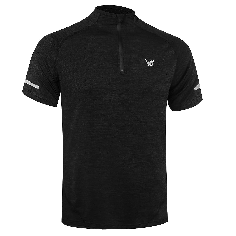 WHCREAT Uomo di Compressione Manica Corta Sportiva Camicia da Running con Zip 1/4 Top Fitness Traspirante con Strisce Riflettenti di Sicurezza