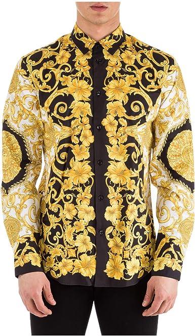 Versace Camisa Hombre Bianco - Nero - Oro 40 cm: Amazon.es: Ropa y accesorios