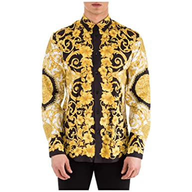enorme sconto 8abff 20e65 Versace Camicia Uomo Bianco - Nero - Oro 41 cm: Amazon.it ...