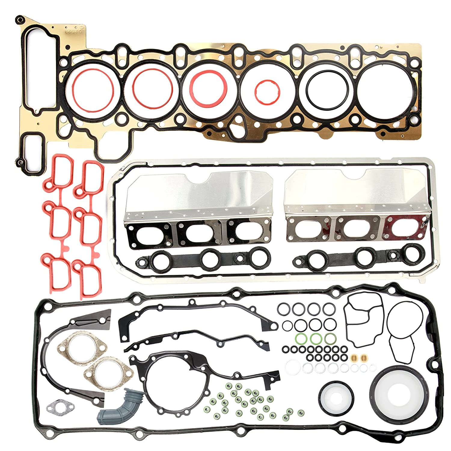 OCPTY Engine Cylinder Head and Lower Crankcase Gasket Set Replacement fit for BMW 530i 525i 2001-2002