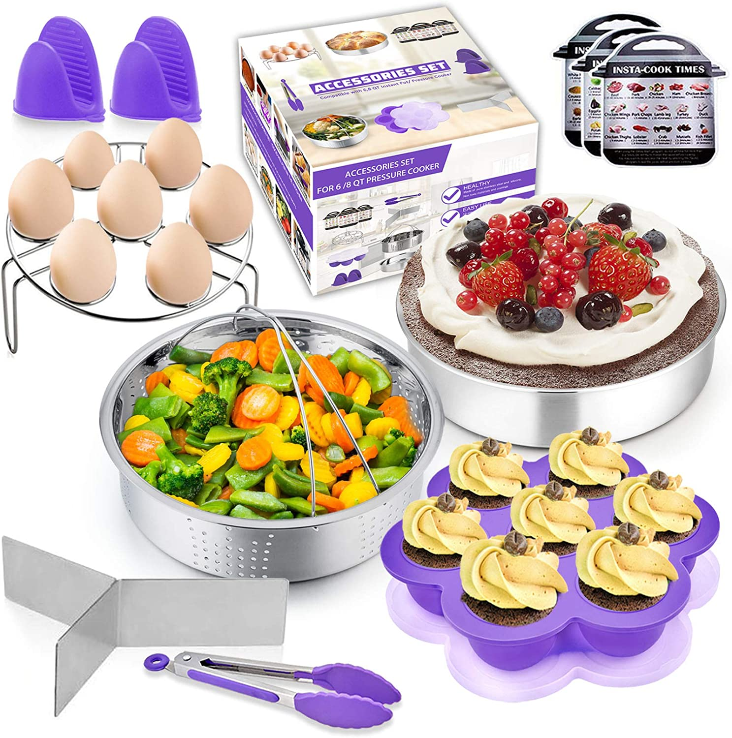 12Pcs Instant Pressure Cooker Pot Accessories Set - Purple, P&P CHEF Electric Pressure Cooker Accessory Kit, Fit 6/ 8 Qt Pot, Steamer Basket, Cake Pan, Egg Rack, Egg Bite Mold and Kitchen Tools