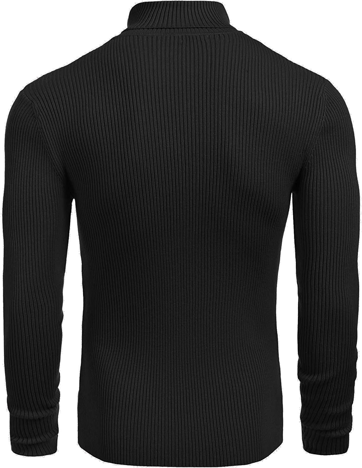 Yayu Mens Solid Color High Neck Long Sleeve Knit Sweater Top