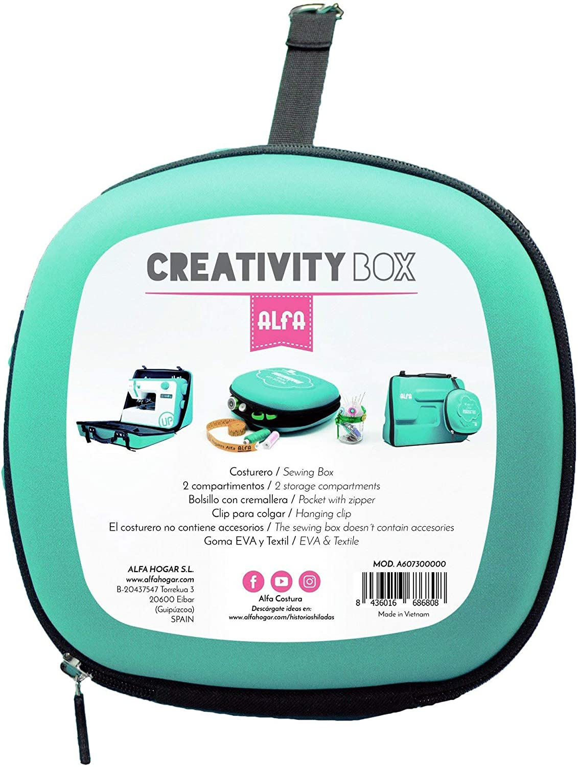 Alfa Costurero Creativity Box, Goma, Azul, 29x12.5x29 cm: Amazon ...