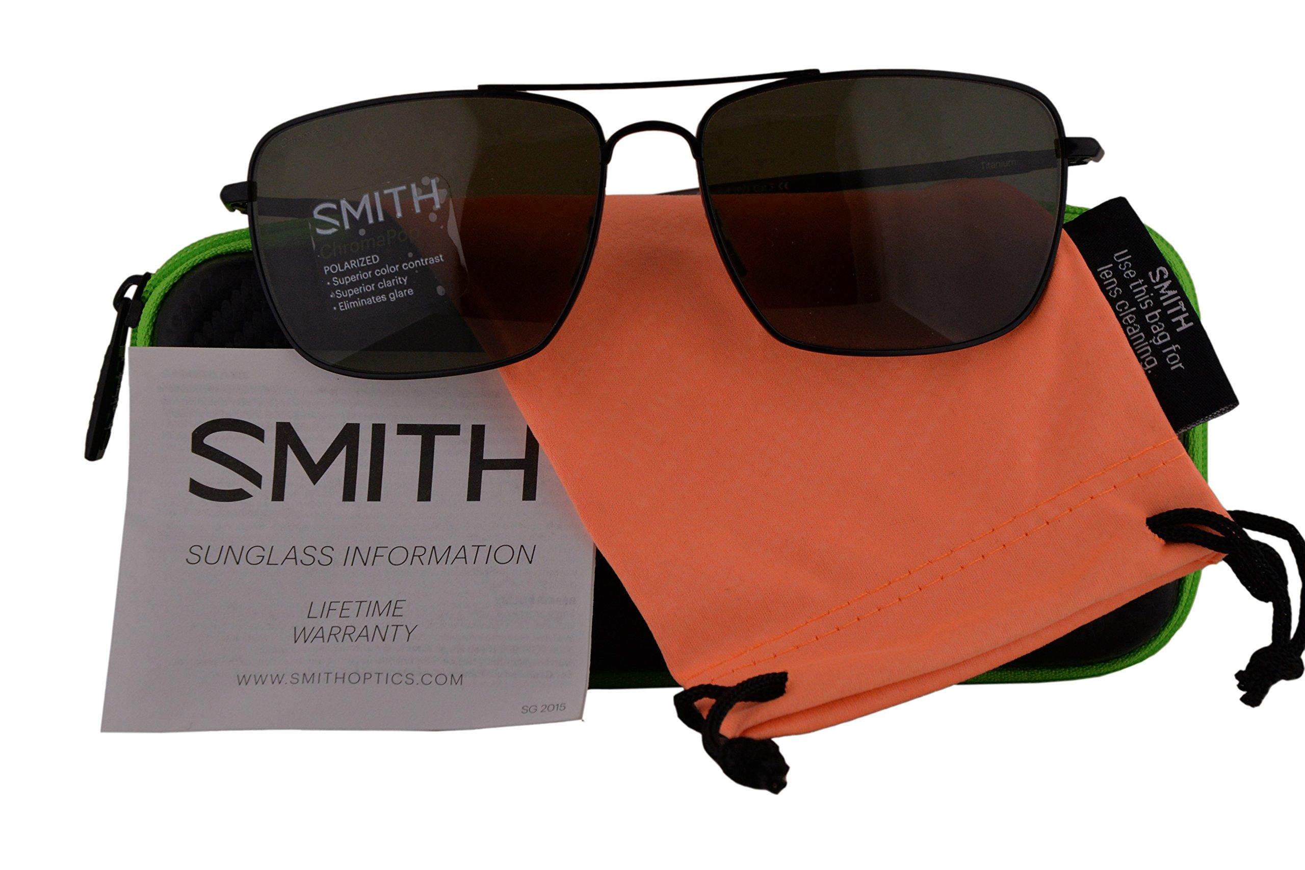Smith Authentic Sunglasses Nomad Matte Black w/ChromaPop Polarized Grey Green Lens 003 (59mm) Nomad/S
