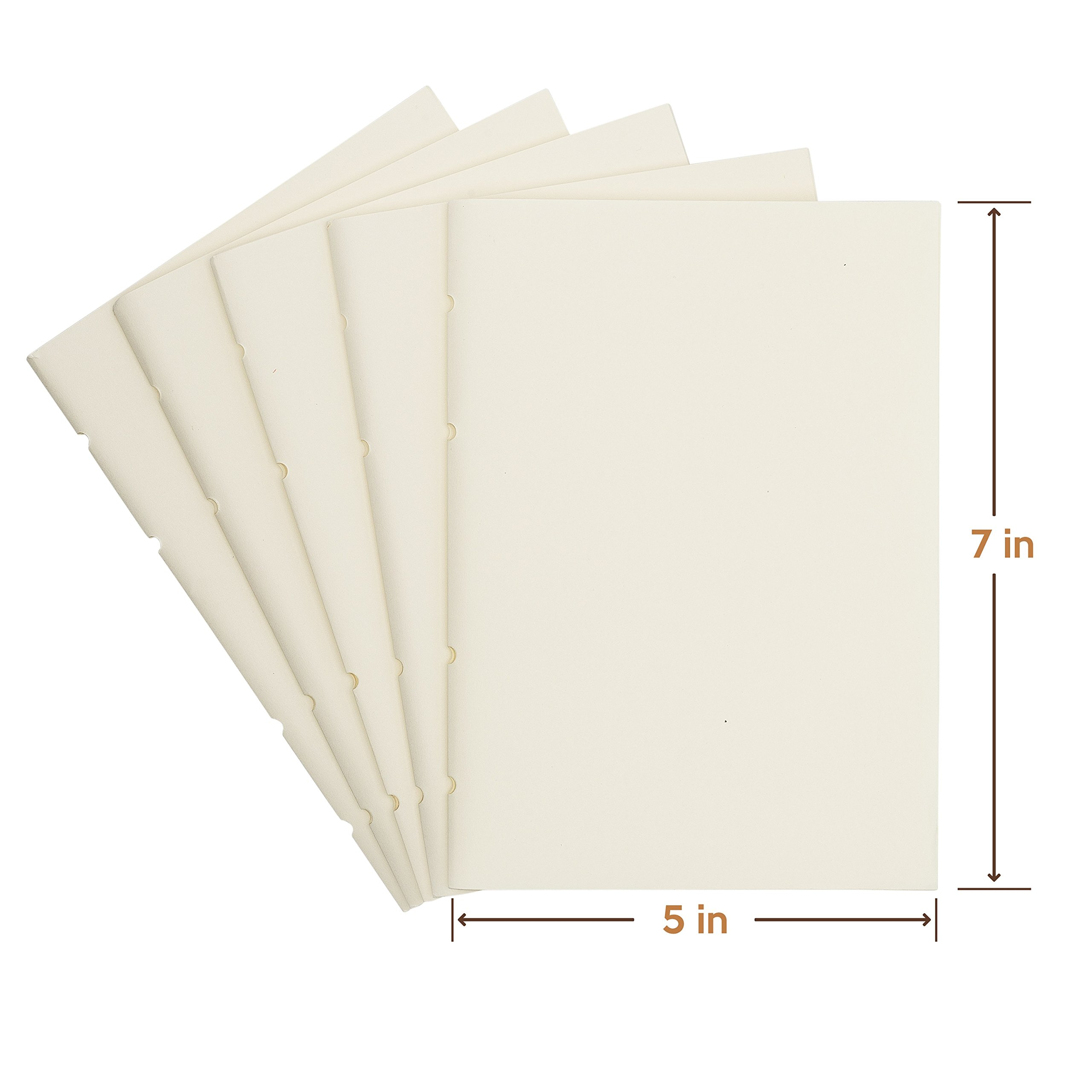 UnLined Blank Notebook Paper- Jofelo Refillable Leather Journal Paper Refill Inserts 5 x 7 inch 80gsm