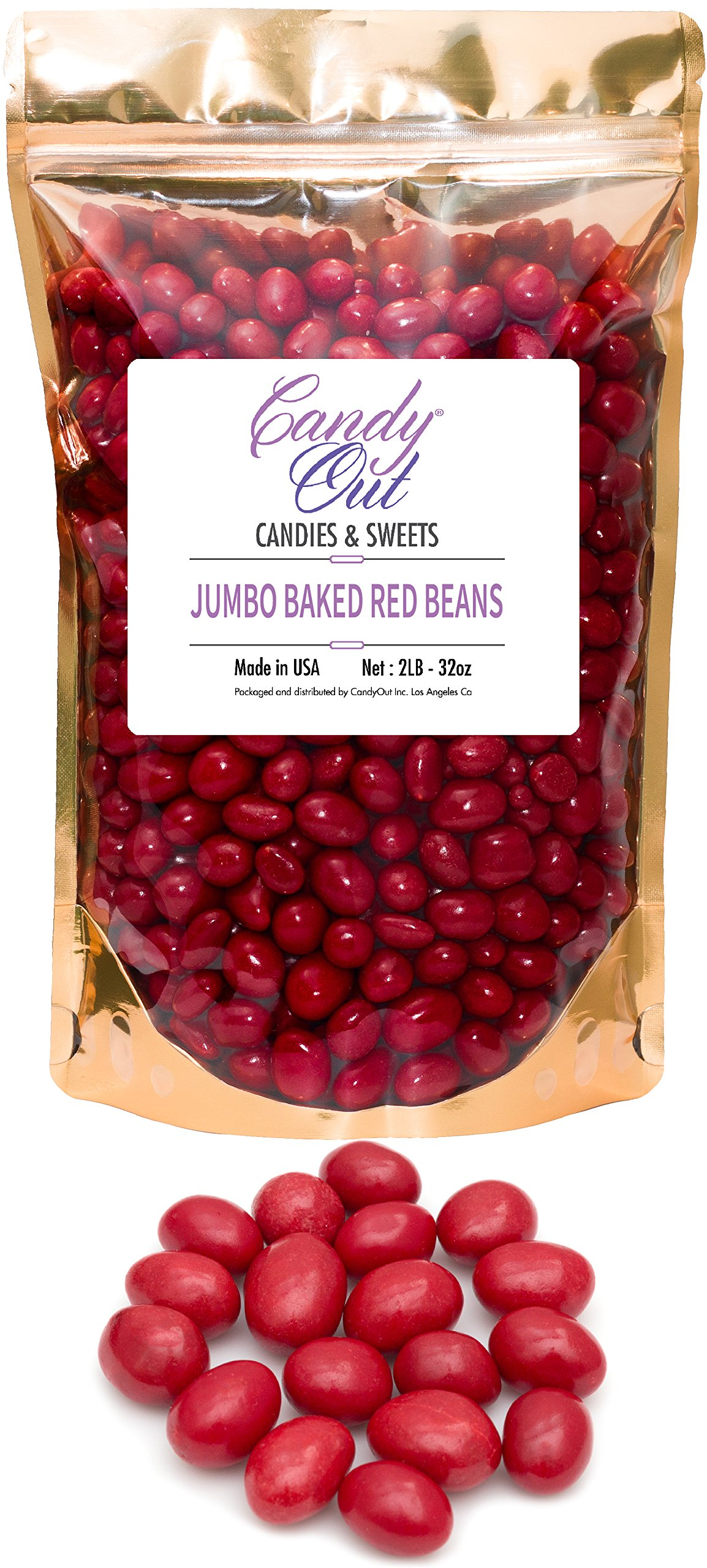 CandyOut Boston Beans Red Candy Coated Peanuts in 2 Pound Resealable Bag