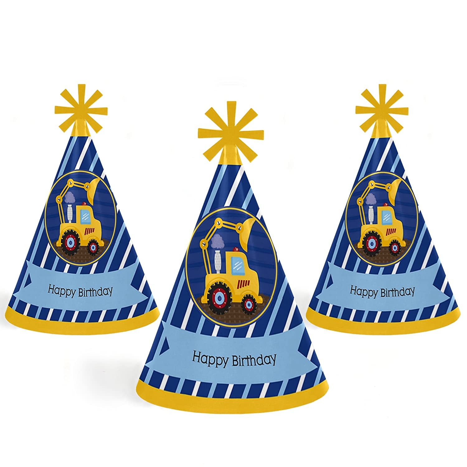 Set of 8 Big Dot of Happiness Construction Truck Standard Size Cone Happy Birthday Party Hats for Kids and Adults