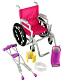 Click n' Play Doll Wheelchair and Crutches Set, Perfect For 18 inch American Girl Dolls