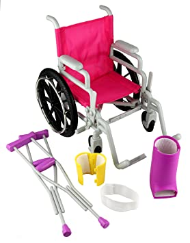Amazon.com: Click n Play Doll Wheelchair and Crutches Set, Perfect For 18 inch American Girl Dolls: Toys & Games
