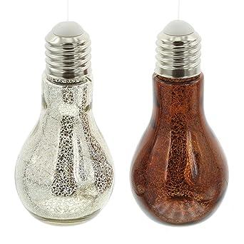 Série 2 Ampoules, Déco Originale, Verre Aspergé De Bronze Et Du0027argent,