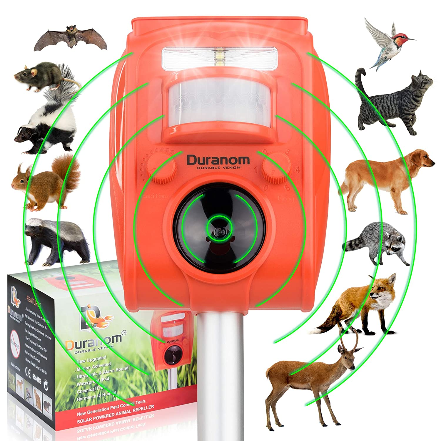 DURANOM Ultrasonic Animal Repeller Outdoor - Solar Powered Cat Deer Repellent - Motion Sensor Activated Alarm Sound - Pest Strobe Light Electronic Deterrent - Flashing Led Birds Chaser Device