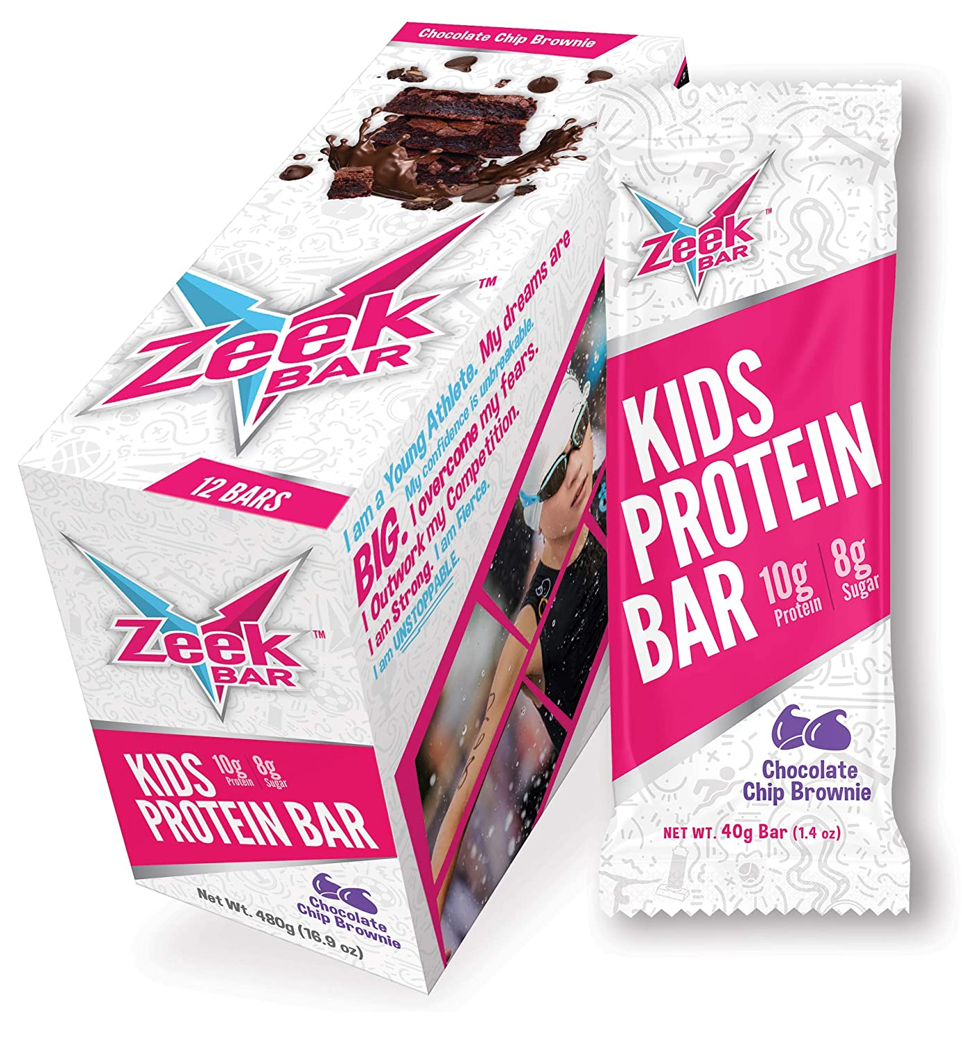 Zeek Kids Bar: Protein-Packed Kids Snack Bar | Real Ingredients, Delicious Flavors | Gluten Free, Low Sugar | Chocolate Chip Brownie, 12 Bars