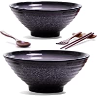 2 Set (12 Pieces) Ceramic Ramen Bowl Set, Pho Bowls Asian Japanese With Spoons Chopsticks and Stands, Large 32 Ounces…