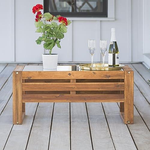Walker Edison Furniture Company AZWOSCTBR Modern Outdoor Patio Wood and Glass Rectangle Coffee Table All Weather Backyard Conversation Garden Poolside Balcony, 36 Inch, Brown