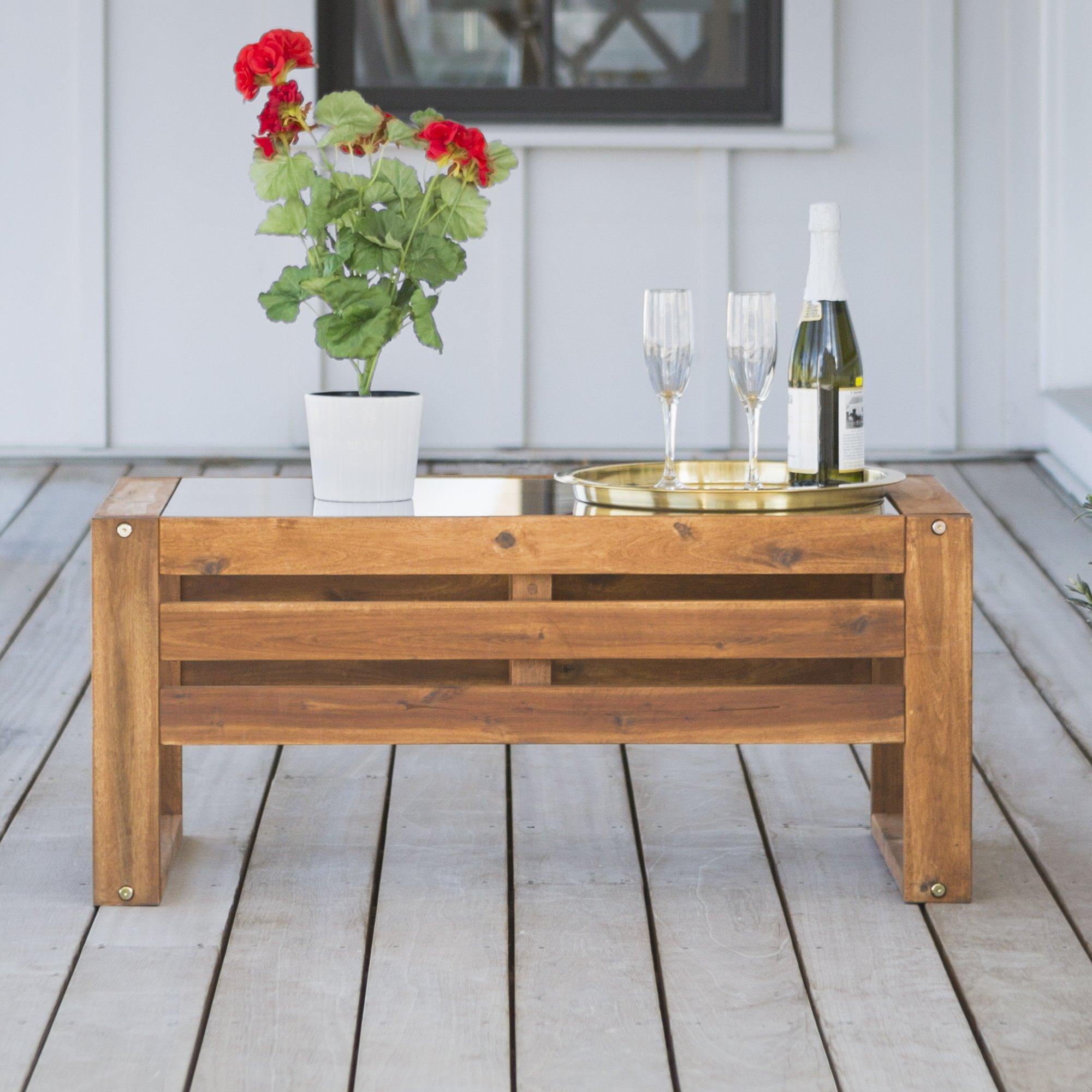 WE Furniture AZWOSCTBR Outdoor Coffee Table, 36'', Brown