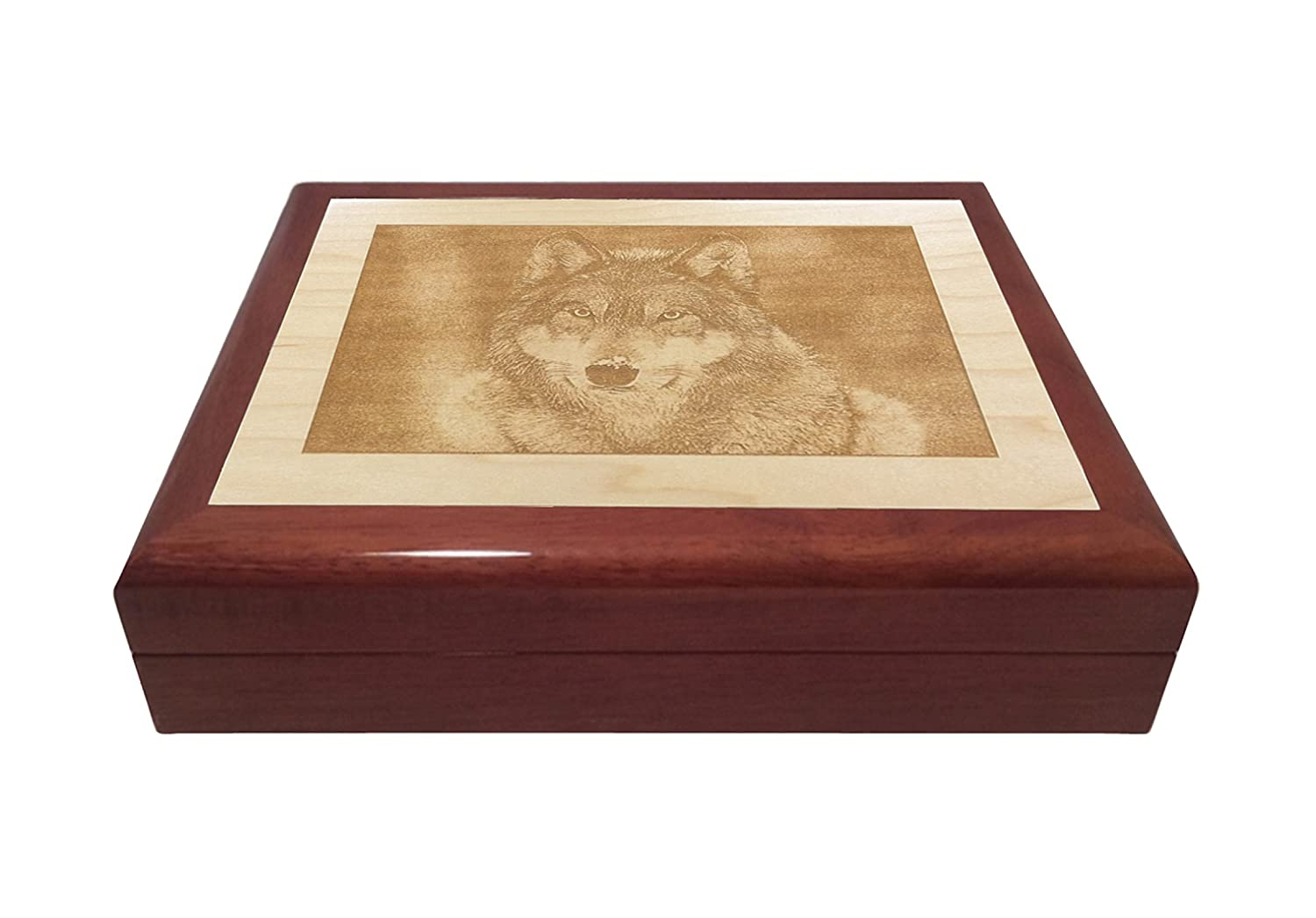 Wolf Engraved Wooden Keepsake Jewelry Box