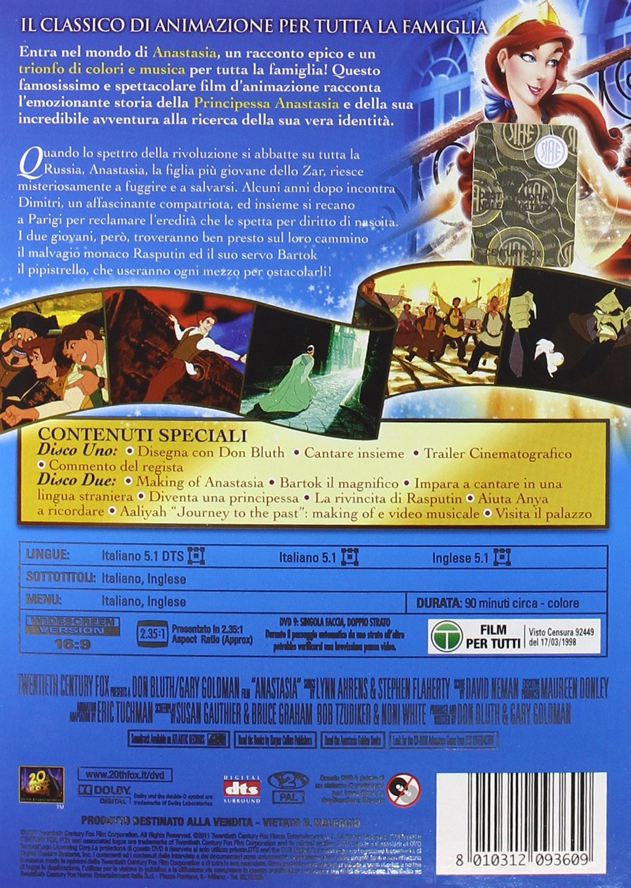 Anastasia Animazione Special Edition 2 Dvd Italia: Amazon.es: vari, vari, vari: Cine y Series TV