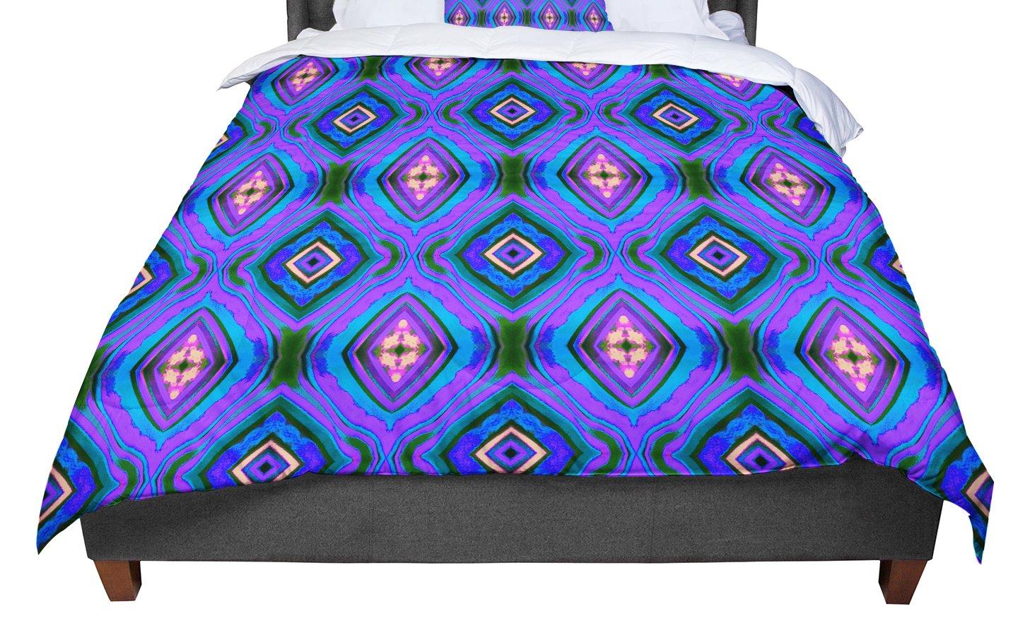 88 X 88 KESS InHouse Anne LaBrie Dark Diamond Purple Blue Queen Comforter