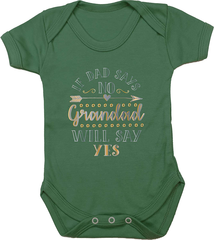 Boys Girls Short Sleeve Hippowarehouse If Dad Says No Grandad Will Say Yes Baby Vest Bodysuit