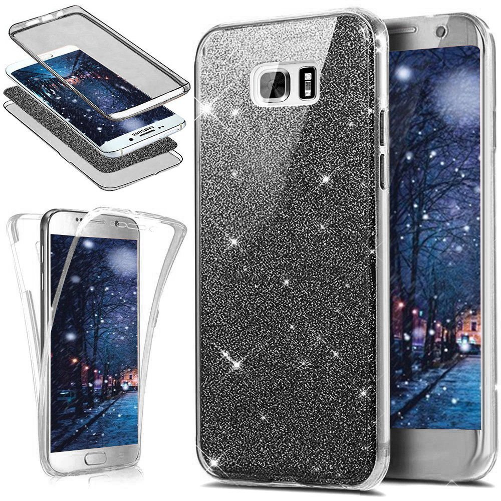 Coque Galaxy S5, Etui Galaxy S5, Galaxy S5 Ultra Fine TPU Silicone Coque Paillette Strass Brillante Bling Bling Glitter, KunyFond 360 Degres Protection INTEGRAL Avant + Arriere Anti Choc Coque de Protection avec Absorption de Choc et Anti-Scratch Full-Cove
