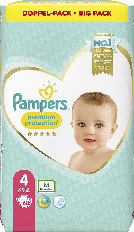 Pa/ñales Pampers Premium Protection talla 4, 60 pa/ñales, 9-14 kg, 2 unidades de 1,777 kg