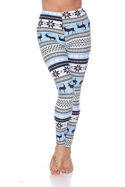 57e45b65289ea White Mark Women's Holiday Reindeer & Snowflake Printed Leggings in Baby  Blue & White - Regular