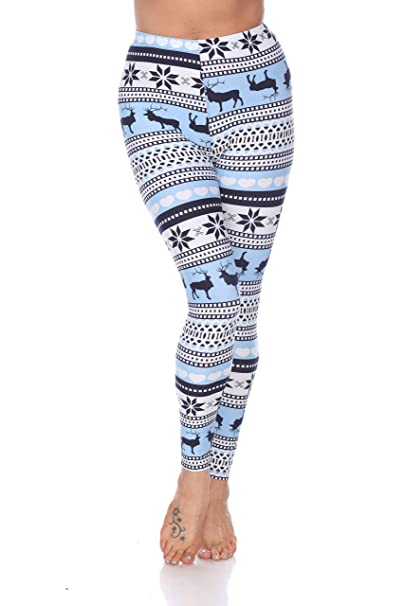 aebf99f41ec1 White Mark Women's Holiday Reindeer & Snowflake Printed Leggings in Baby  Blue & White - Regular