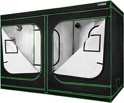 VIVOSUN 96 x48 x80 Mylar Hydroponic Grow Tent with Observation Window and Floor Tray for Indoor Plant Growing 4 x8