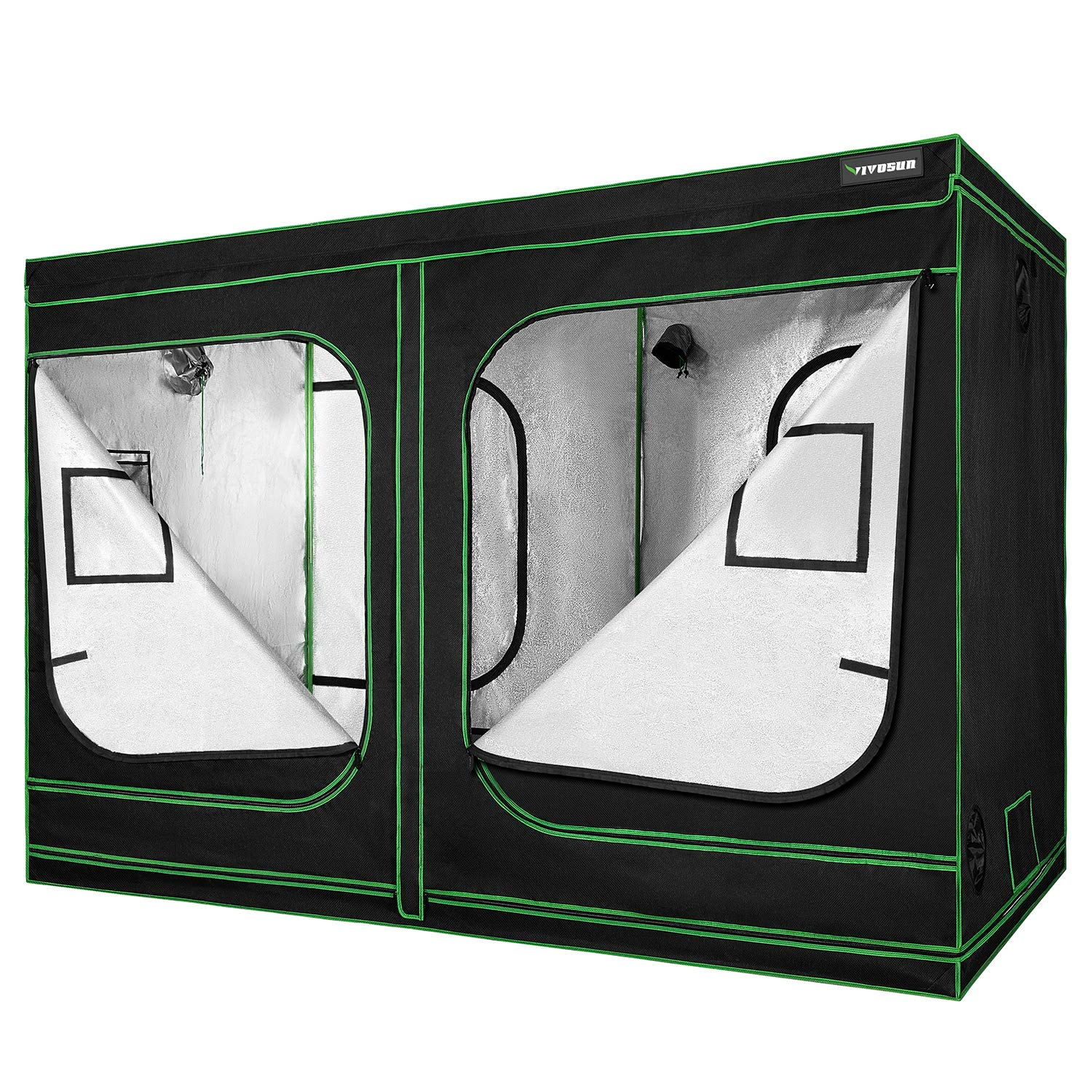 """VIVOSUN 96""""x48""""x80"""" Mylar Hydroponic Grow Tent with Observation Window and Floor Tray for Indoor Plant Growing 4'x8'"""