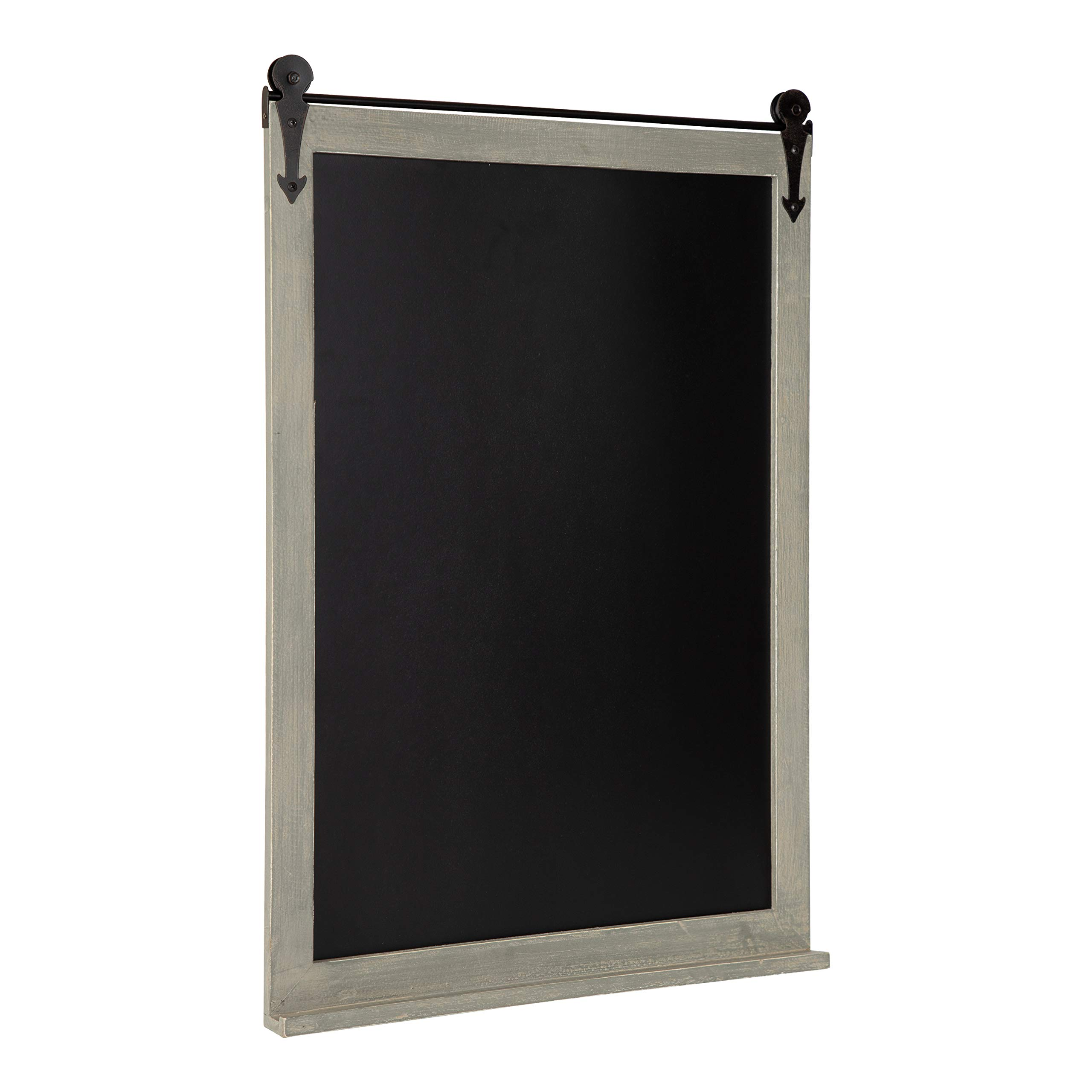 Kate and Laurel Cates Modern Farmhouse Barn Door Wood Framed Chalkboard, Rustic Gray by Kate and Laurel
