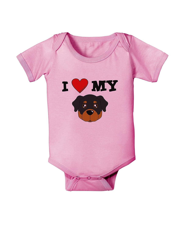 Cute Rottweiler Dog Baby Romper Bodysuit TooLoud I Heart My