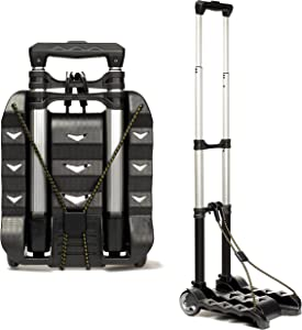 RMS Folding Luggage Cart - Lightweight Aluminum Collapsible and Portable Fold Up Dolly for Travel, Moving and Office Use (Black)