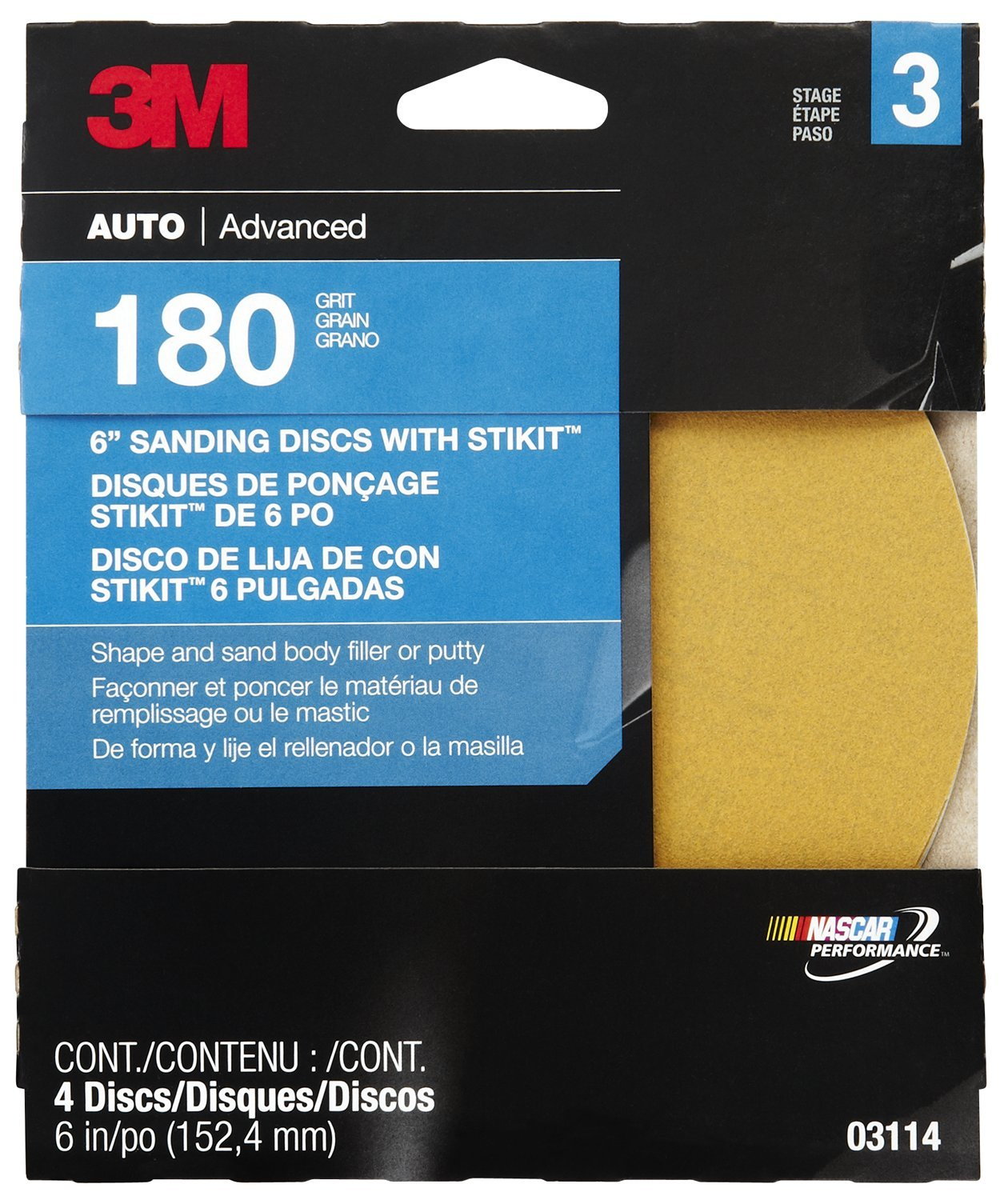 3M 03114 6' Fine Adhesive Backed Sanding Disc