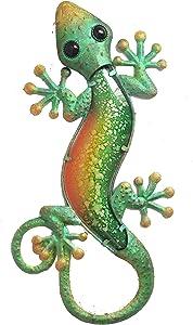 "Comfy Hour 17"" Green Metal Art Gecko Wall Decor"