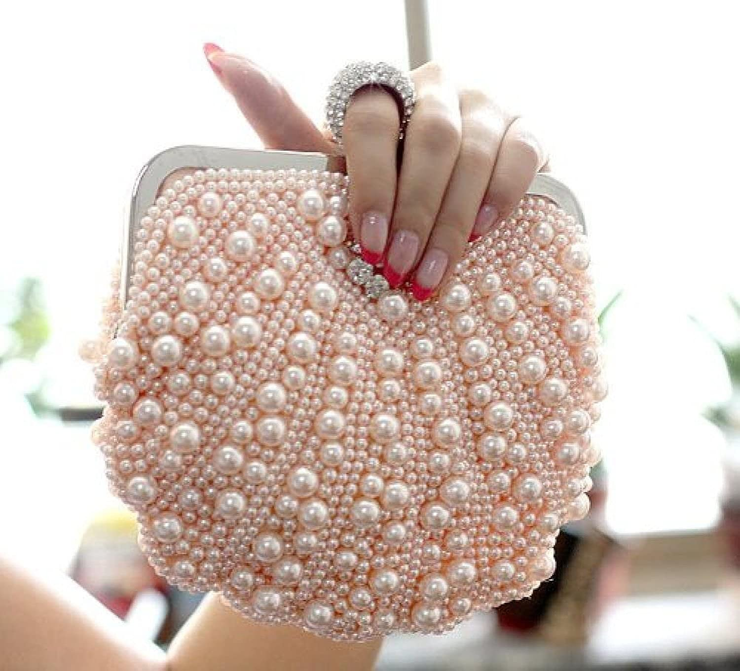 Ladies Elegant Beaded Pearl Rhinestone Evening Wedding Ring Party Clutch Purse Wallet Handbag Karazan