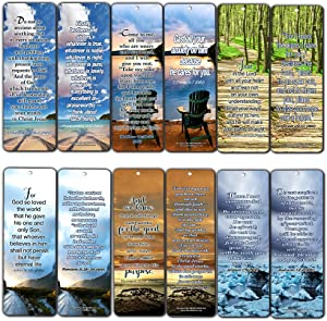 Most Highlighted Bible Scriptures Bookmarks Cards NIV Version (12-Pack) - Religious Christian Inspirational Gifts to Encourage Men Women Boys Girls - Bible Study Sunday School War Room Decor