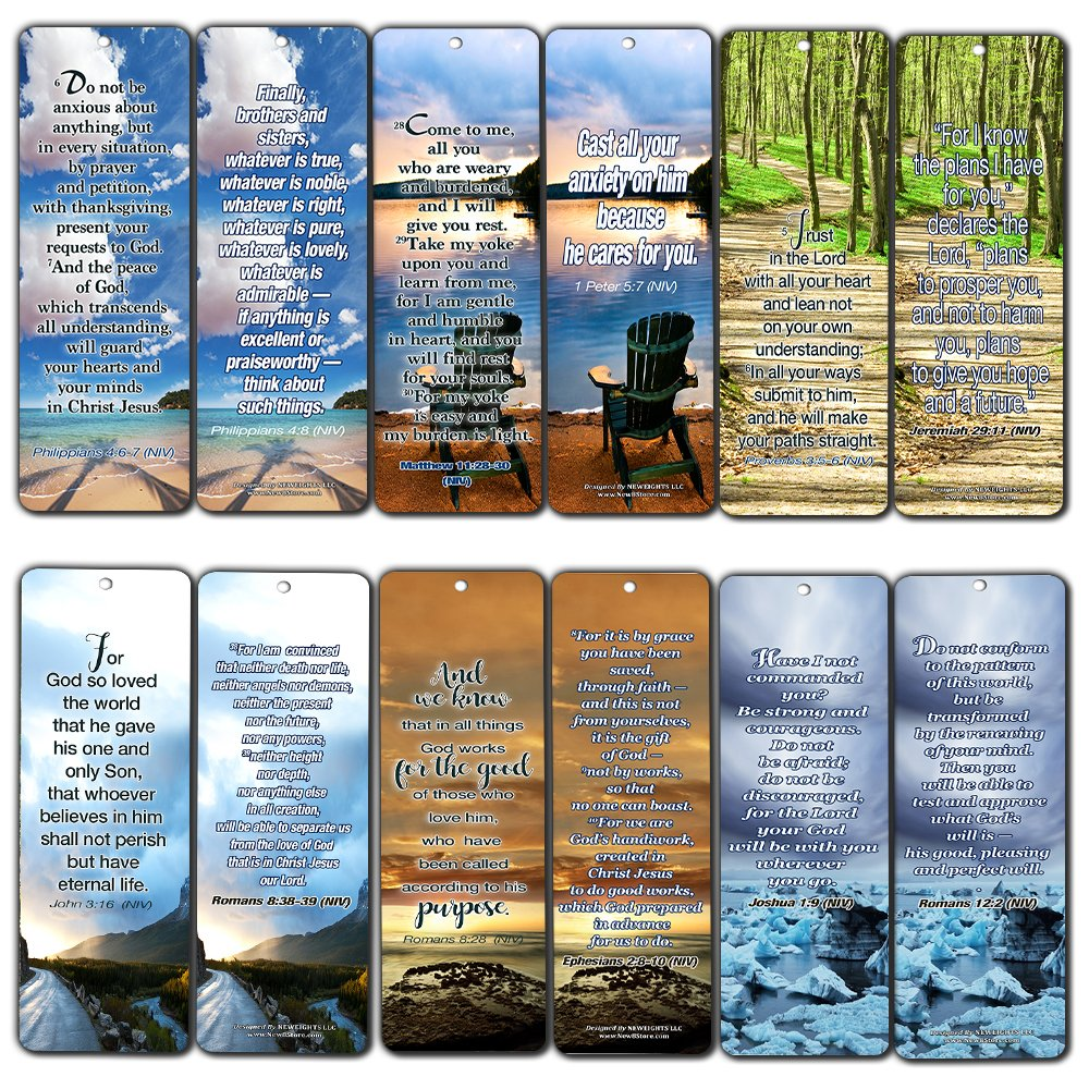 Most Highlighted Bible Scriptures Bookmarks Cards NIV Version (30-Pack) - Great Stocking Stuffers Gifts for Men Women - Church Supplies for Ministry Bulletin Cell Group Baptism Evangelism Christmas