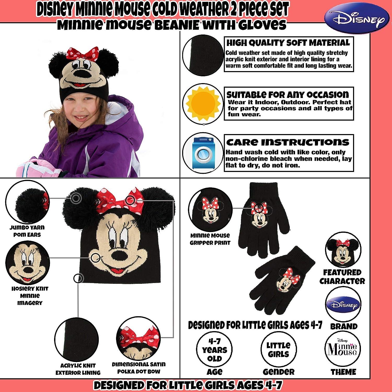 Disney - Gorro y guantes para niñas de Minnie Mouse, para clima frío ...