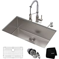 KRAUS KHU100-30-1610-53SSCH Set with Standart Pro Sink and Bolden Commercial Pull-Down Kitchen Faucet in Stainless Steel Chrome Combo, 30, Stainless Steel/Chrome