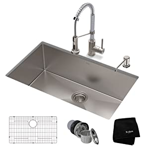 KRAUS KHU100-30-1610-53SSCH Set with Standart PRO Sink and Bolden Commercial Pull Faucet in Stainless Steel Chrome Kitchen Sink & Faucet Combo 30 Inch