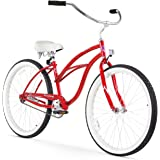 "Firmstrong Urban Lady Single Speed 26"" Beach Cruiser Bicycle, Red w/ White Seat"