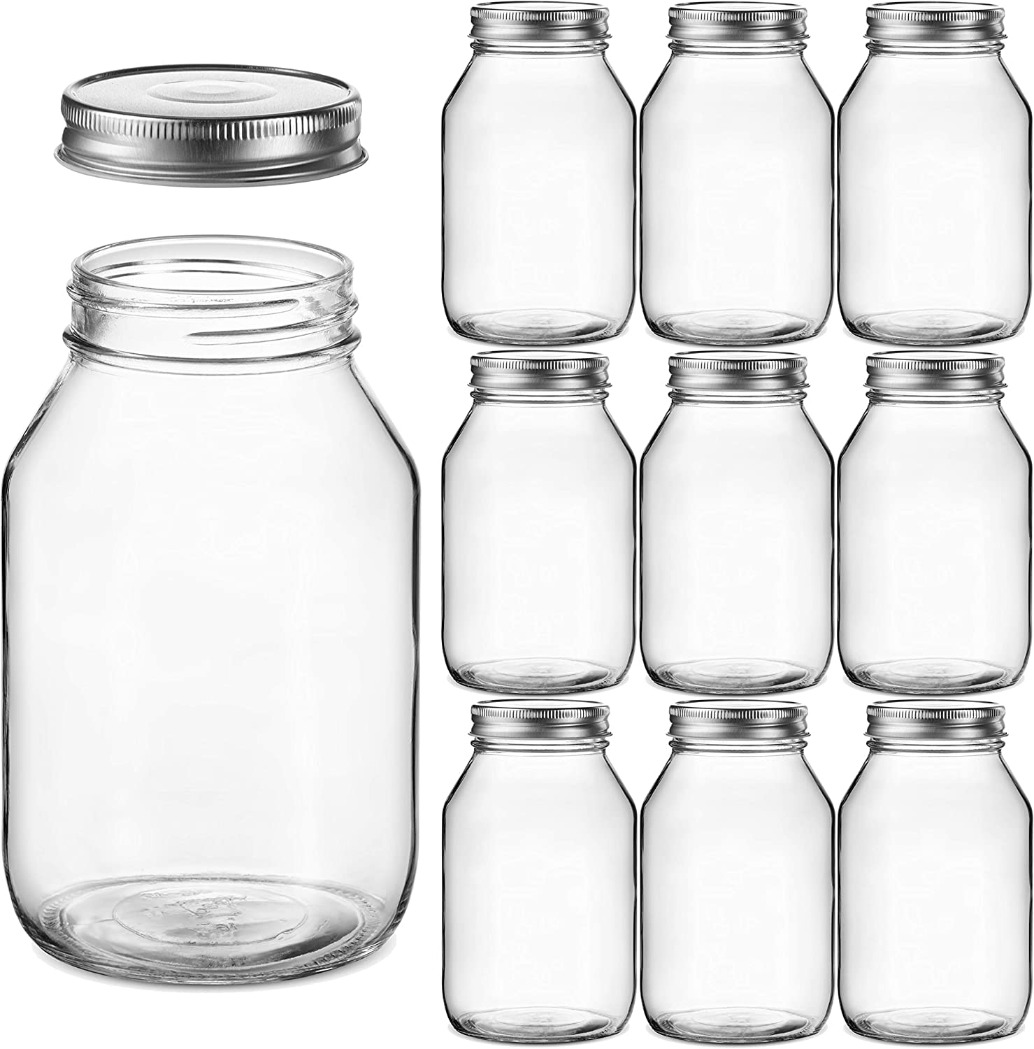 Glass Regular Mouth Mason Jars, 32 Ounce (10 Pack) Glass Jars with Silver Metal Airtight Lids for Meal Prep, Food Storage, Canning, Drinking, Overnight Oats, Jelly, Dry Food, Spices, Salads, Yogurt