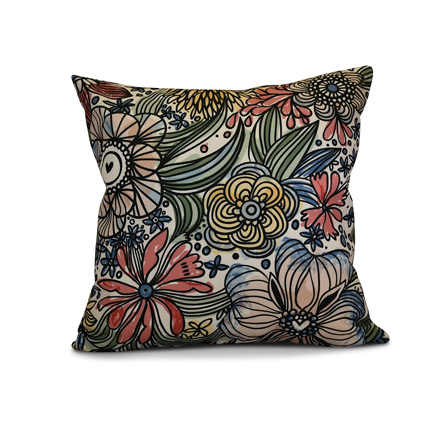 E by design PFN735RE2-20 20 x 20-inch 20x20 Red Floral Print Zentangle