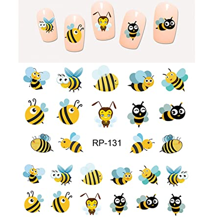 Amazon Cute Honey Bee Nail Art Stickers Water Transfer Decals