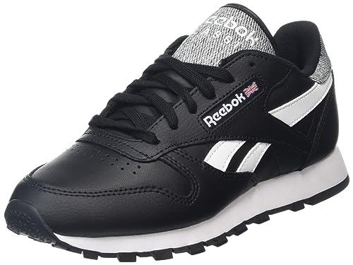 e02d388491 Reebok Classic Leather Pop, Zapatillas Unisex Adulto, Negro (Black/White),  35 EU: Amazon.es: Zapatos y complementos