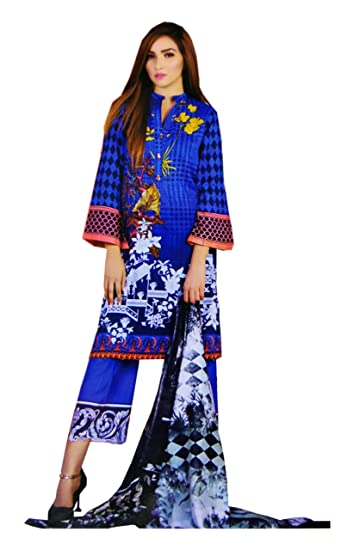 872f3427 Madeesh Pakistani Suit for Women, Cotton Paki Style Printed Top, Cotton  Bottom, Cotton