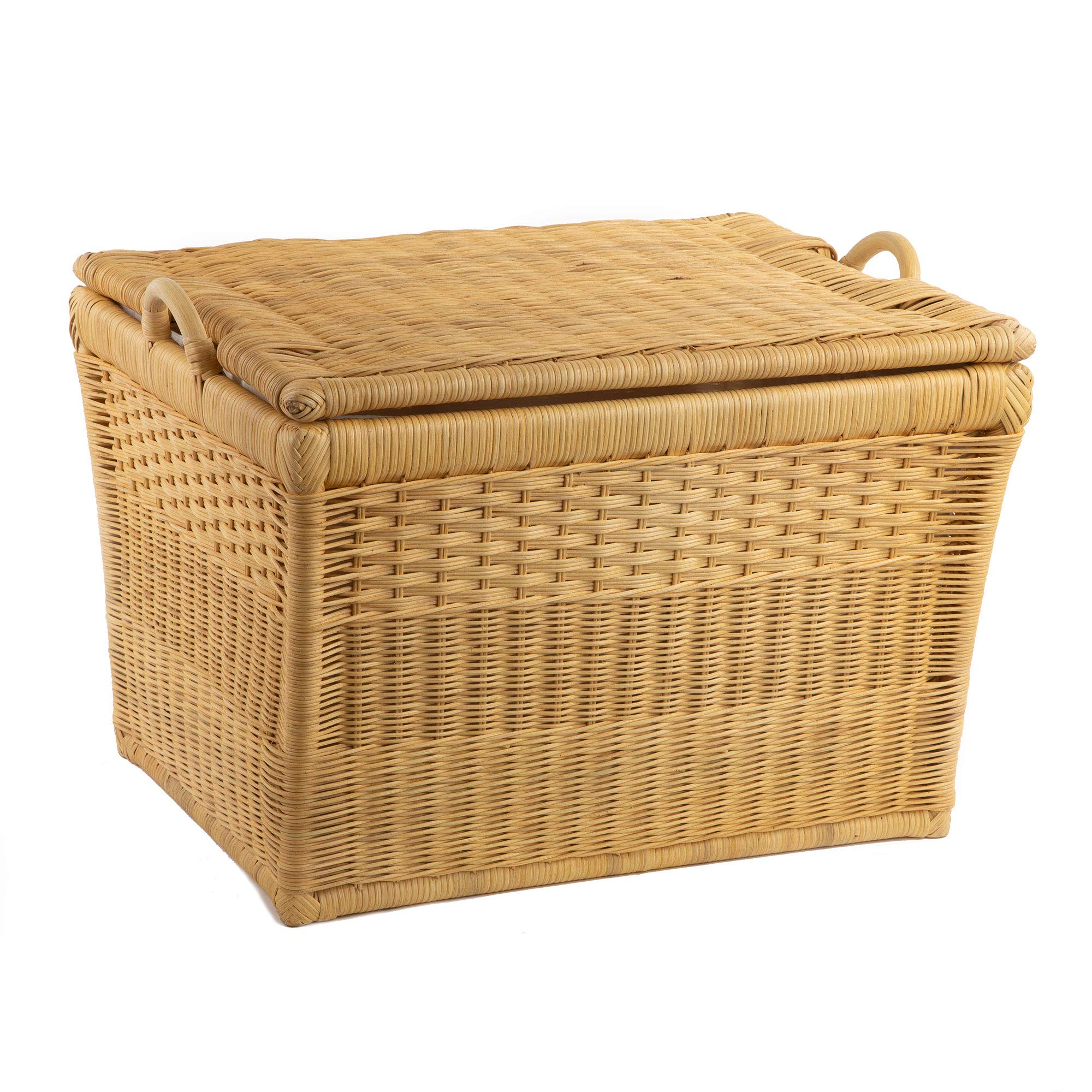 The Basket Lady Lift-off Lid Wicker Storage Basket, Large, Toasted Oat